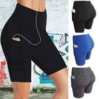 Womens High Waist Yoga Pocket Shorts Biker Cycling Hot Pants Gym Sports Leggings