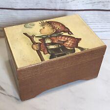 Vtg Swiss Music Box Edelweiss Hummel Wooden Little Hiker Handmade Cuendet