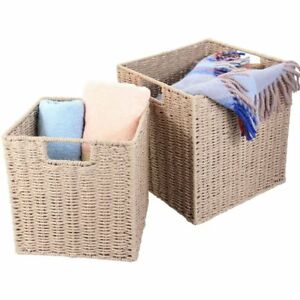 Natural Paper Rope Storage Baskets Boxes Set of 2