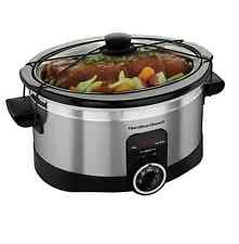 Hamilton Beach Programmable 6-Quart Oval Slow Cooker Electric Pot w/ Lid Strap