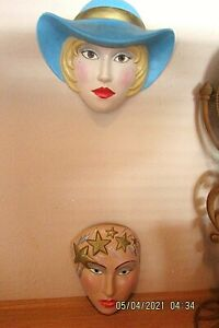 2 Ceramic Masks for Wall Decorations