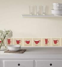 Tea Cups Home & Kitchen Self Adhesive Border  FDB50041 Ceramica - Red/Natural