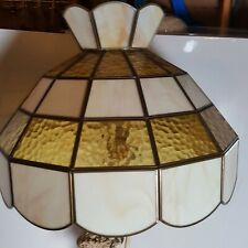 1960s Vntg Tiffany STAINED GLASS LAMP LIGHT SHADE with crown WHITE & GOLD