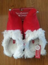 NEW Womens Size Small 5/6 Ugly Christmas Elf Santa Red White Light Up Slippers