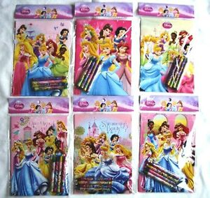 12 Disney Princess Coloring Book + 48 Crayons Girl Party Set Wholesale Price Lot
