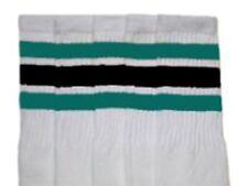 "25"" KNEE HIGH WHITE tube socks with TEAL/BLACK stripes style 1 (25-72)"
