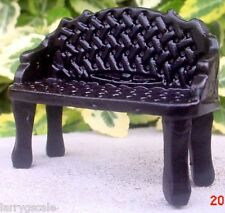 Wrought Iron Garden Bench black Miniature 1/24 Scale Diorama Accessory Item