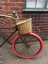 VINTAGE WW2 1940s WICKER WOVEN BICYCLE FRONT BASKET BSA RALEIGH LOOP FRAME CYCLE