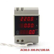 AC 80-300V/100A DIN RAIL Voltmeter Ammeter Wattmeter Digital LED Display Panel