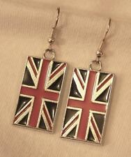 Handsome Blue & Red Enameled British English Flags Silvertone PIERCED Earrings