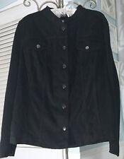 NEW~ Plus Size 1X XL Black Faux Suede Button Cardigan Sweater Jacket