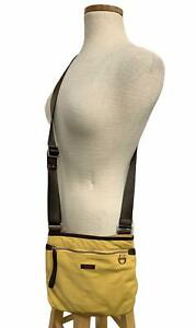 Tumi Nylon Leather Trim Crossbody Handbag Purse Travel Lightweight Yellow