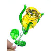 Rose #10 hand blown clear glass art sculpture figurine crystal long stem flower