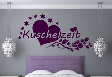 Wandtattoo Kuschelzeit Liebe Herz Blumenranke Sterne Wandaufkleber Schlafzimmer