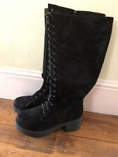 New- Yours- Wide Fitting Knee High, Black Faux Suede Boots With Wedge And Heel