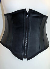 Black faux leather underbust corset waspie cincher