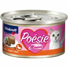 12 Cans - vitakraft Cat Food Poesie Mousse, Duck - Cats Wet Food