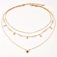 Cross Necklace Multi Layer Chain Charm Triple Drop Pendant Choker Boho L