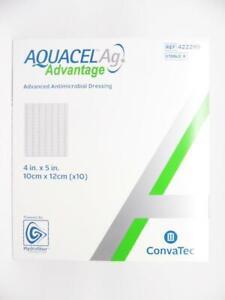 """ConvaTec Aquacel Ag Advantage Advanced Antimicrobial Dressing 4""""x5"""" 422299, 10pk"""