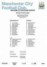 Teamsheet - Manchester City v Liverpool 2012/13