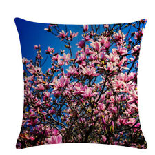 Brightly Floral Printed Cushion Cover Bedroom Decor Scenery Plum Flower Pattern