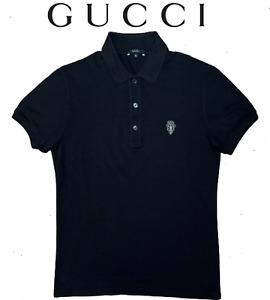 Gucci Men's Navy Black Gucci Logo Cotton Polo Shirt
