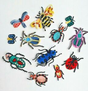 Styled Bugs Insect 12 pcs Set Handmade Embroidered Patch