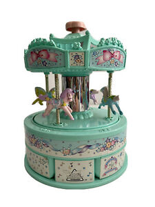 Moose Mountains 1999 Merry go Round Wind Up Music Motion Jewellery Box
