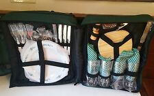 New Wine And Cheese Backpack Service For 4 Picnic Essentials- Green MSRP $89.99
