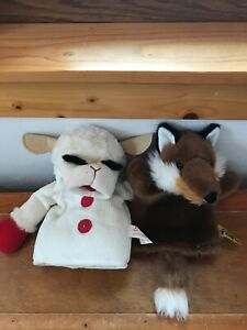 Lot of 2 Aurora Lamb Sheep with Black Curly Eyelashes & Ark Toys Sly Fox Plush