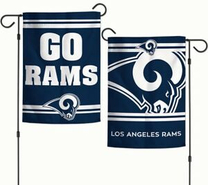 Los Angeles Rams Garden Flag 2 Sided Go Rams Slogan Mini NFL Banner