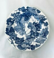 """Collectible WINDSOR & BROWNE Cobalt Blue Grapes 10 1/8"""" Plate - Made in Italy"""