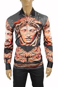 VERSACE Medusa Men's Dress Shirt Long Sleeve In Black color 168 Size XL