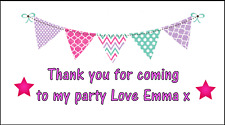 48 Personalised Pink Bunting Stickers labels Party Bag Sweet Cones Thank You