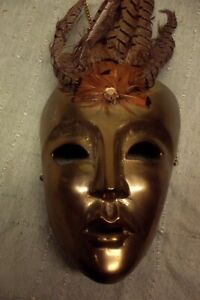 Vintage Brass Decorative Mask with Feathers wall hanging art decoration