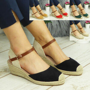 Ladies Womens Wedges Hessian Buckle Comfy Summer Sandals Closed Toe Shoes Sizes