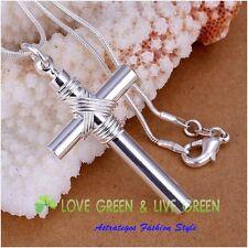 Halskette mit großem Kreuz- Anhänger mit Pfeife, Silber plattiert