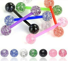 New Lot 7 Flexi Glitter Tongue Bars Piercing Barbell Bar
