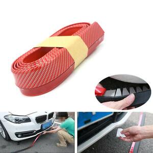 2.5M Car Front Bumper Lip Splitter Body Spoiler Skirt Rubber Protector Red Trim