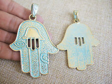 2x Gold Tone Large Hamsa Hand Charms Pendants for Jewelry Making Findings 72mm
