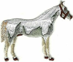 """2"""" x 2 1/2"""" Western Cowboy Equestrian White Horse Embroidered patch"""