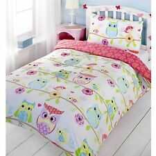 Girls Single Bedding Age 3 to 13 Duvet Cover Fun Bright Designs 135cm X 200cm Owl & Friends