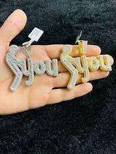 14k Gold Finish F**k You Simulated Diamond Hip Hop Pendant Charm w/ Rope Chain
