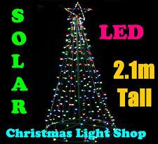 SOLAR 264 LED Giant Christmas Tree & Star 2.1m MULTICOLOUR Outdoor Fairy Lights