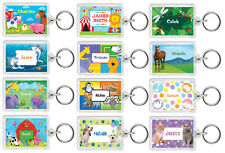 Personalised Kids Cute Animal Keyring Bag Tags - Add Name + Colour - School/Home