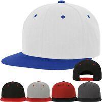 Classic Snapback Baseball Cap Plain Blank Snap Back Hat Two Tone Adjustable