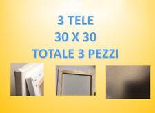 3 STAMPE SU TELA (LE TUE FOTO) 30 cm x 30 cm cornice in abete levigato 4cm x 2cm