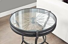 Accent Table Industrial Vintage Round Glass Bicycle Wheel Rustic Furniture Small