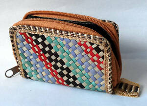 Straw Woven Coin Purse Multi Colours - Clearance