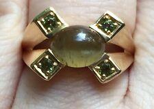 Natural GREEN CAT'S EYE APATITE and GREEN TOURMALINE 14K Yellow Gold Estate Ring